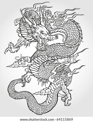 Tradition Asian Dragon Illustration - stock vector