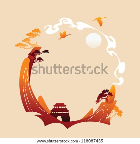 Traditional abstract asian background - stock vector