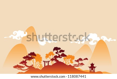Traditional abstract chines background - stock vector