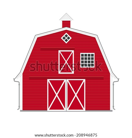 Traditional American Red Barn Isolated Vector Illustration Of On White Background Flat