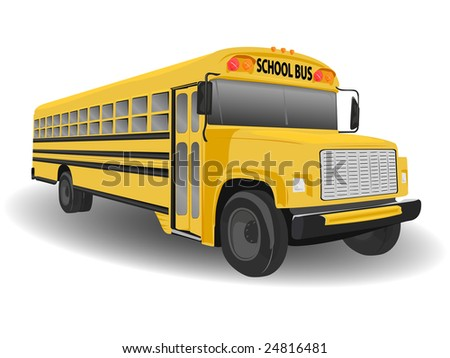 Traditional American School Bus Illustration on White - stock vector