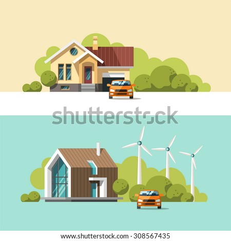 Traditional and modern house. Family home. Flat design vector concept illustration. - stock vector