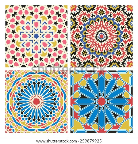 Traditional arabian tale patterns - stock vector