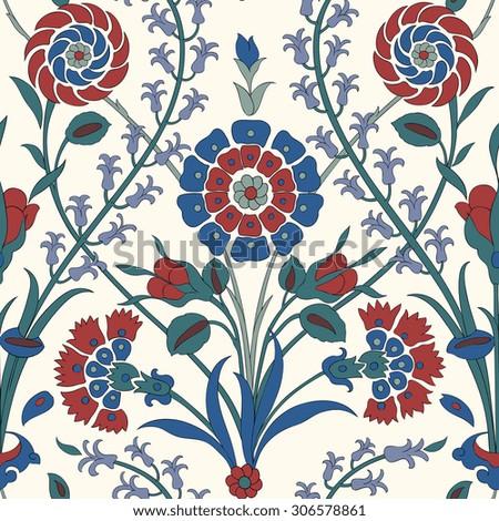 Traditional Arabic  ornament seamless. Floral Ornamental pattern. Iznik .Vector.  Background - stock vector