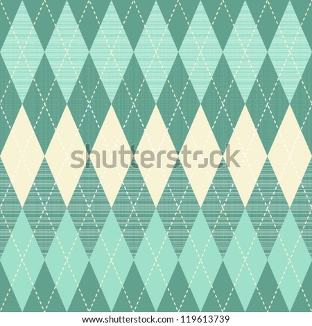 traditional argyle diamond pattern in turquoise and beige - stock vector