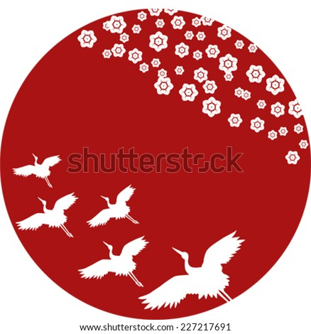 Traditional Asian cherry blossom and flying cranes pattern on round red background - stock vector