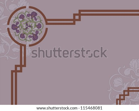 Traditional asian decor with iris flowers - stock vector