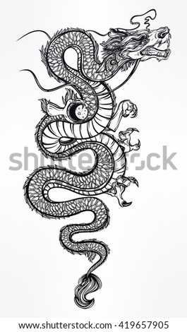 Traditional asian dragon with moon sphere. Vector illustration isolated. Magic, ethnic, boho, alchemy objects linear style. Tattoo outline template. Ideal for coloring book or T-shirt graphic. - stock vector
