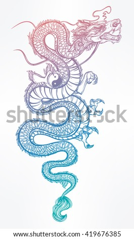 Traditional asian dragon with Yin and Yang symbol. Vector illustration isolated. Magic, ethnic, boho, alchemy objects linear style. Tattoo outline template. Ideal for coloring book or T-shirt graphic. - stock vector