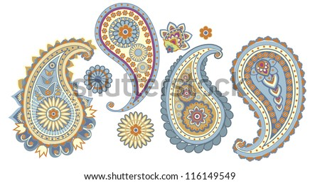 traditional Asian elements Paisley on a white background - stock vector
