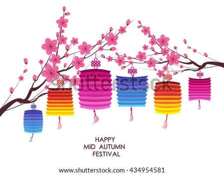 traditional background for traditions of Chinese Mid Autumn Festival or Lantern Festival