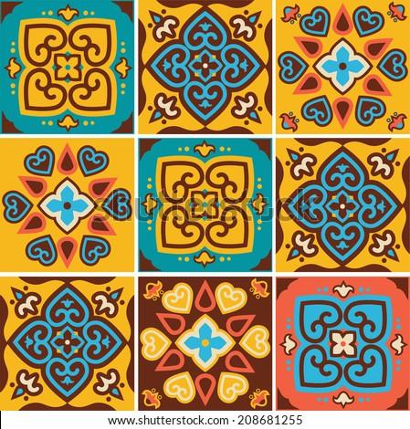 Traditional ceramic tiles patterns , vector illustration - stock vector