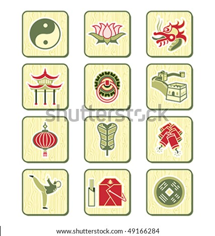 Traditional Chinese Culture Symbols Objects Icon Stock Vector 2018