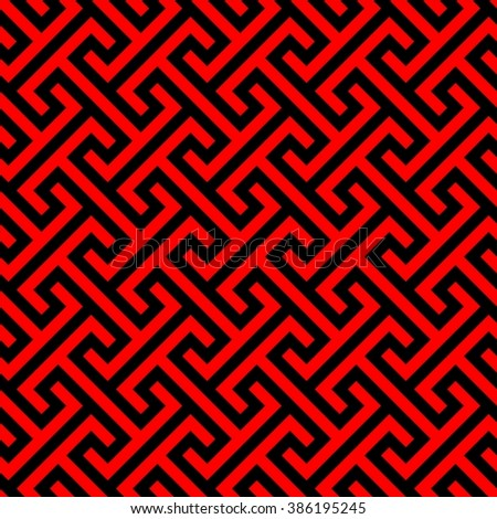 Traditional chinese pattern seamless, asian texture in red and black, vector illustration - stock vector