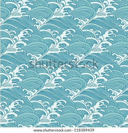 Traditional Chinese wave ornament pattern - stock vector
