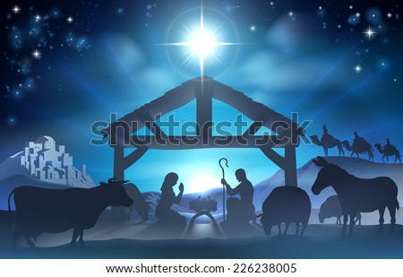Traditional Christian Christmas Nativity Scene of baby Jesus in the manger with Mary and Joseph in silhouette surrounded by the animals and wise men in the distance with the city of Bethlehem - stock vector