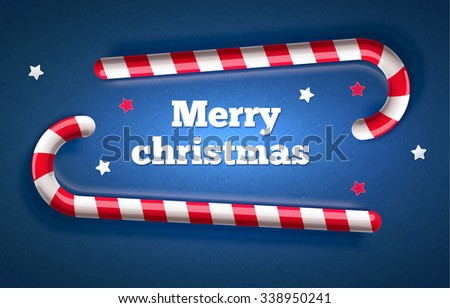 Traditional christmas candy candy top view - stock vector