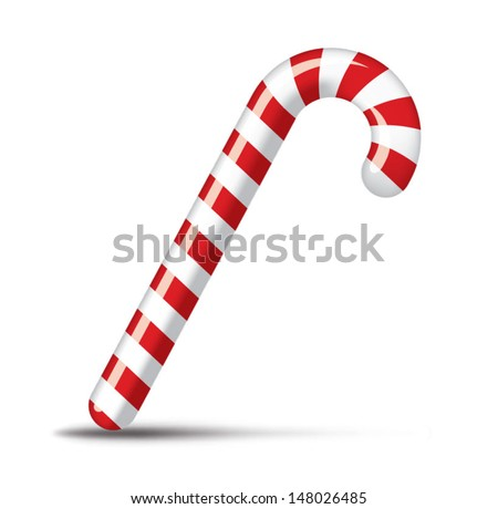 Traditional christmas candy cane on white - stock vector