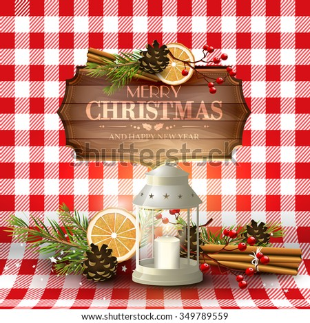 Traditional Christmas greeting card with decorations,lantern and wooden sign on red checkered background