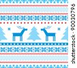 Traditional christmas knitted ornamental background with deer and tree - stock vector