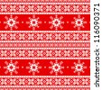 Traditional christmas knitted ornamental pattern with snowflakes - stock vector