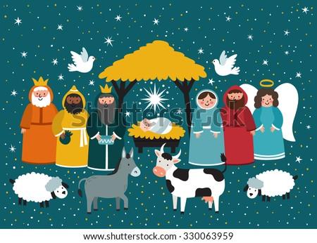 Traditional Christmas scene. Vector background with nativity scene. Baby jesus born in bethlehem. - stock vector