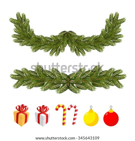 Traditional Christmas set for festive decorations. FIR branches and Christmas balls. Boxes with gifts and Mint sweets.  - stock vector