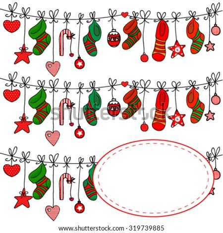 Traditional christmas socks with gifts - stock vector