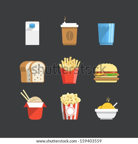 Traditional color flat food icons collection