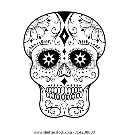 Traditional colorful sugar skull art vector illustration - stock vector