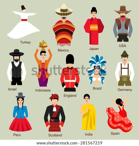 Traditional costumes  - stock vector