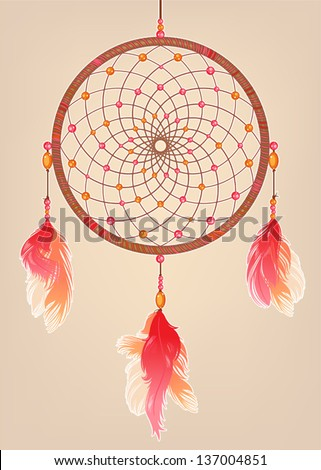 traditional dream catcher with red orange and pink feathers and beads