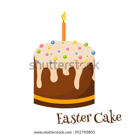 Traditional easter cake, holiday kulich, easter cake preparing in kitchen vector illustration. Easter sweet cake decorated drops spring dessert vector illustration.