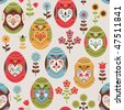 Traditional Easter eggs seamless pattern - stock vector