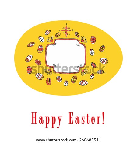 Traditional Easter greeting with colored eggs - stock vector