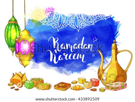 Traditional eastern halal food. Vector watercolor background. Islamic bakery and sweets. Ink hand drawn inscription Ramadan Kareem. Brush lettering. Calligraphy. Arabic lanterns. Teapot.