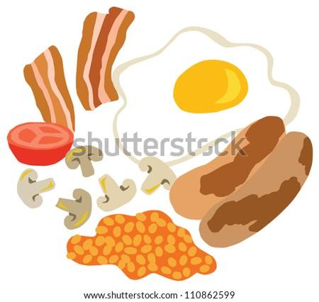Traditional English Breakfast - stock vector