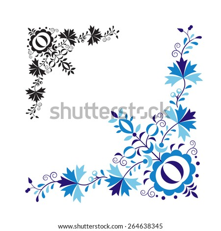 Traditional folk ornament and pattern isolated on white background