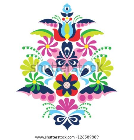 traditional folk ornament Hungary kalocsai vector illustration  - stock vector