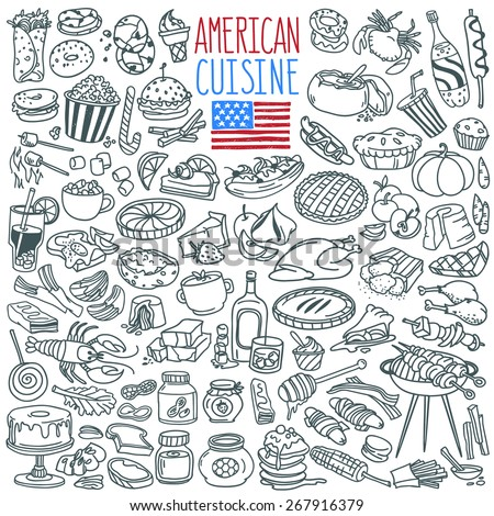 Traditional food and drinks of American cuisine. Main and side dishes, desserts, bakery, beverages . Freehand vector doodles collection isolated on white background - stock vector