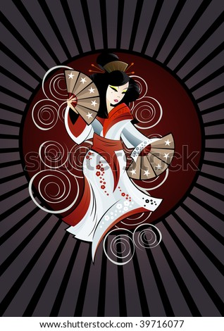 traditional geisha tattoo background - stock vector
