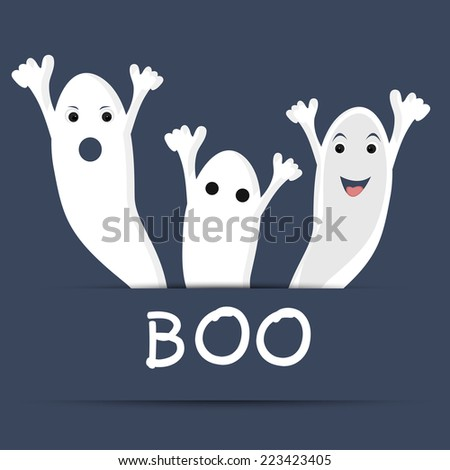 Traditional ghost with text of Boo for Halloween party celebration on blue background for Halloween celebration concept. - stock vector
