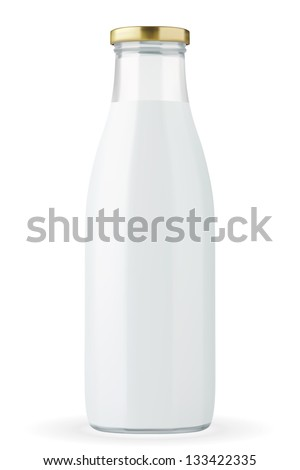 Traditional glass milk bottle. EPS-10 - stock vector