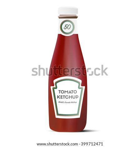 Traditional glass tomato ketchup bottle isolated on white background. Vector illustration. - stock vector