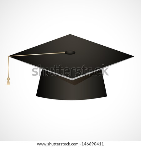 Traditional graduation hat isolated on white - stock vector