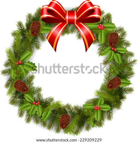 Traditional green Christmas decoration  - stock vector