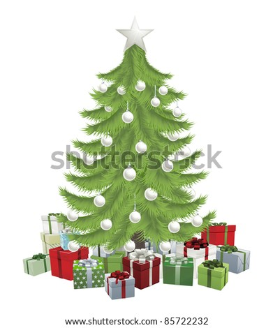 Traditional green Christmas tree with baubles and gifts. - stock vector