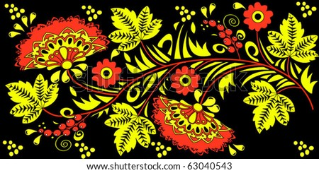 Traditional Hohloma-style pattern. National russian handmade. Vector illustration.