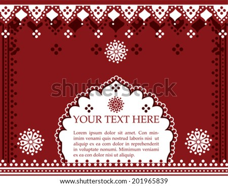 Traditional Indian design with henna patterns and space for text - stock vector