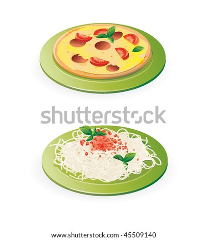 traditional italian meals - pasta and pizza - vector illustration isolated on white - stock vector